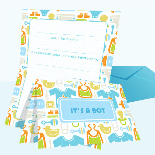 Invitations Fill-in - Baby Themed - Toys Boy 20pk