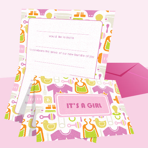 Invitations Fill-in - Baby Themed - Toys Girl 20pk