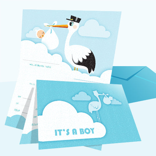 Invitations Fill-in - Baby Themed - Stork Boy 20pk