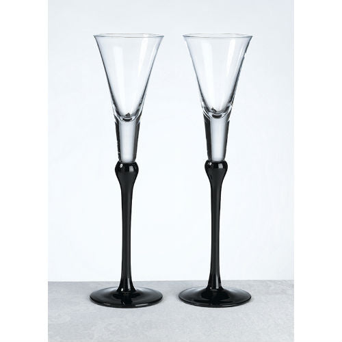 Black Stem Toasting Flutes
