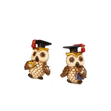 Graduation Owl Boy Figurine - 2 Assorted Designs