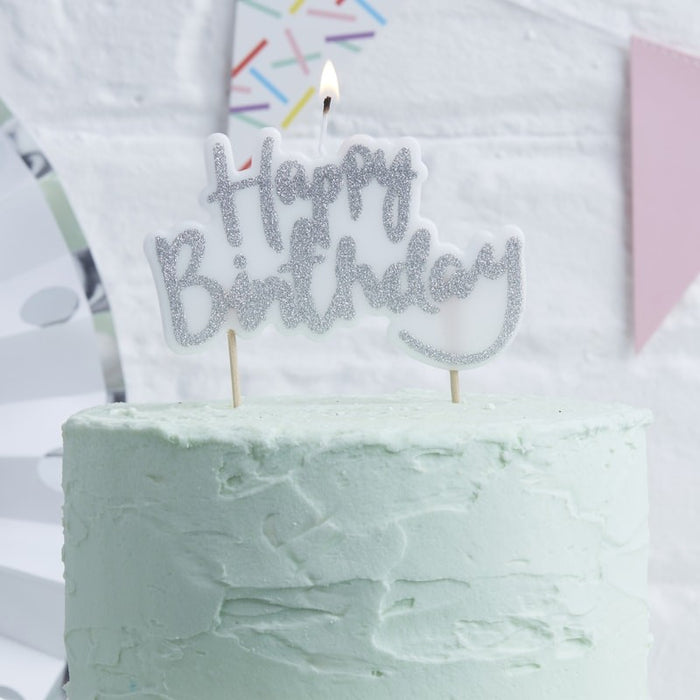 Pick and Mix - Candle - Happy Birthday - Silver
