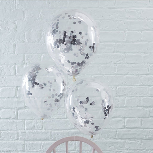 Balloons Silver Confetti Filled - Pick & Mix - 5pk