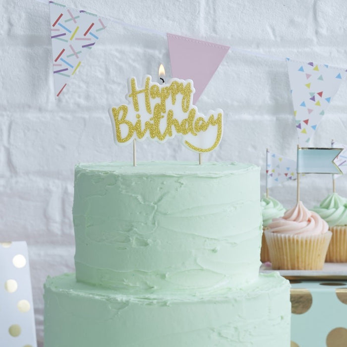 Pick and Mix - Candles - Happy Birthday - Gold