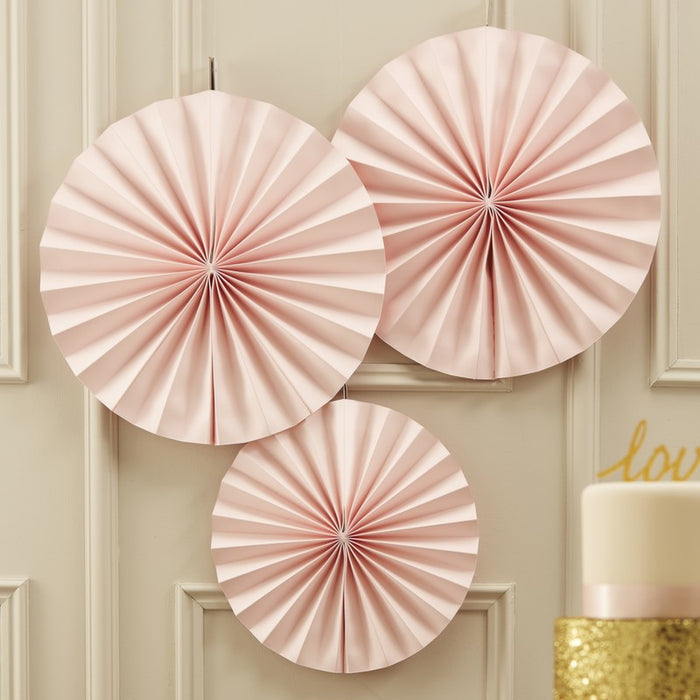 Circle Fan Pinwheel Decorations - Pastel Pink - Pastel Perfection
