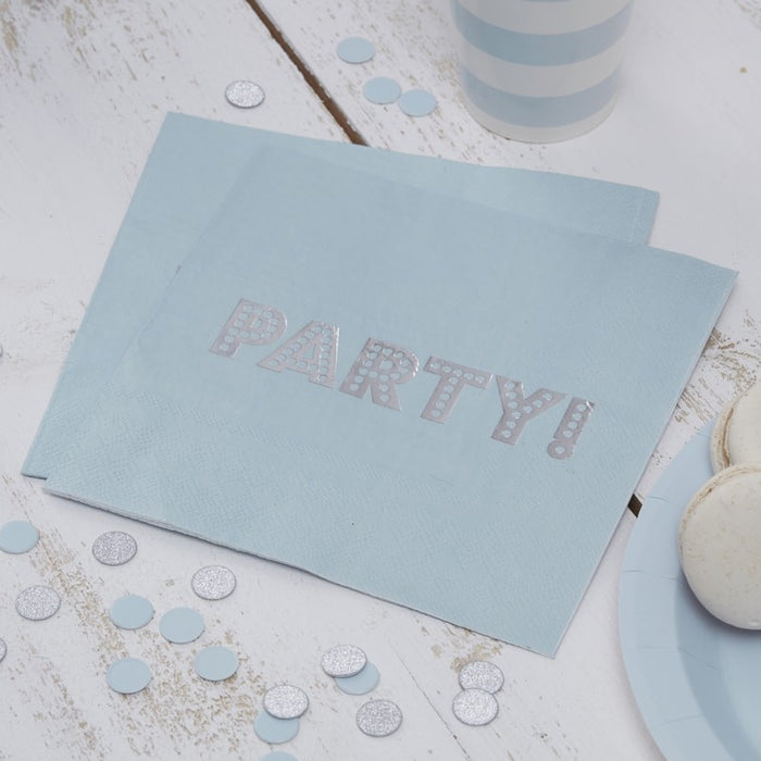 Baby Blue & Silver Foil Party Napkins