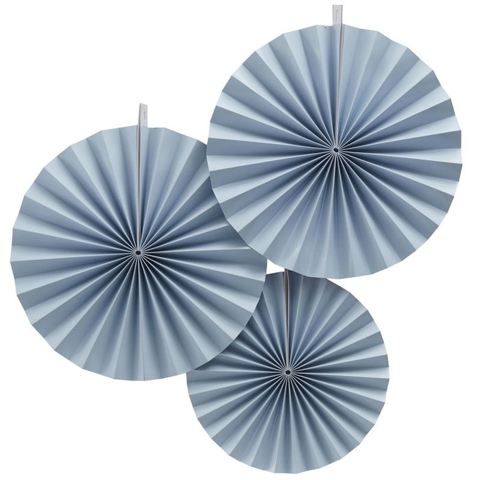Blue Hanging Fan Decorations - Pastel Perfection