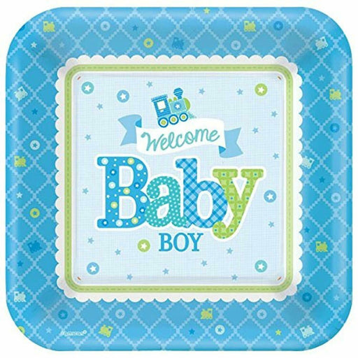 Welcome Baby Boy Plates - 26cm Paper Party Plates
