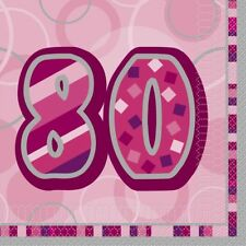 Lunch Napkins - Dazzling Pink - 80th Birthday