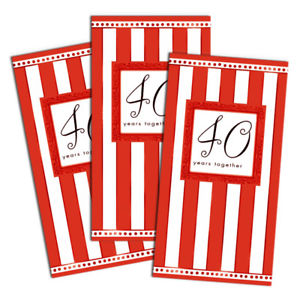 40th Anniversary Die Cut Invitations - Folded