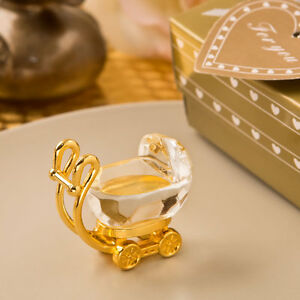 Disc Crystal Gold And Crystal Baby Carriage