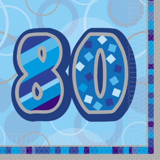 80th Birthday Blue Luncheon Napkins - 3Ply Paper