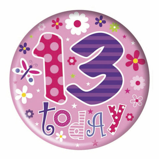 13th Birthday Big Birthday Badge - Spots - (15.5cm)