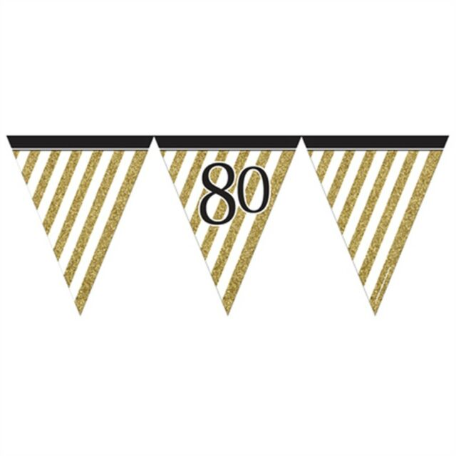 Black & Gold 80 Flag Bunting