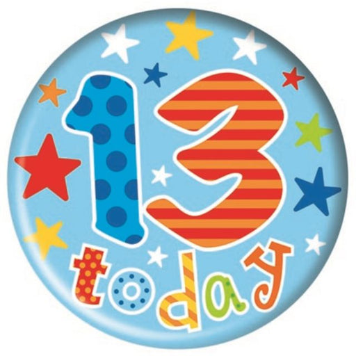 13th Birthday Big Birthday Badge - Stars - (15.5cm)
