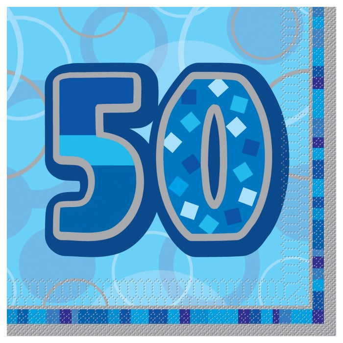 50th Birthday Blue Luncheon Napkins - 3Ply Paper