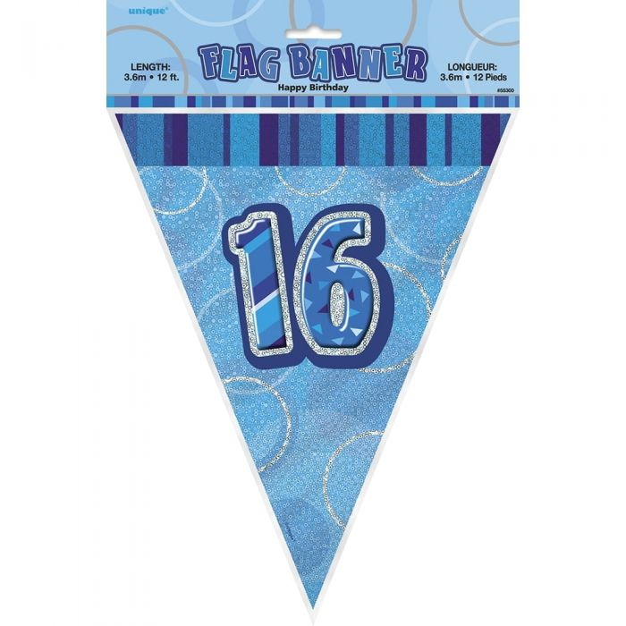 16th Birthday Blue Flag Banner - Plastic - 3.65m