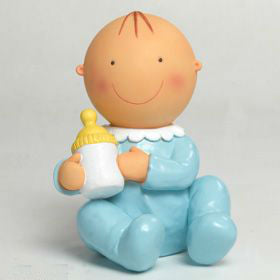 Cake Topper & Money Bank Baby Boy with Bottle