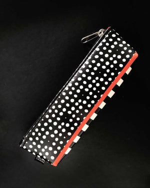 dots black and white free shipping pencil case 2