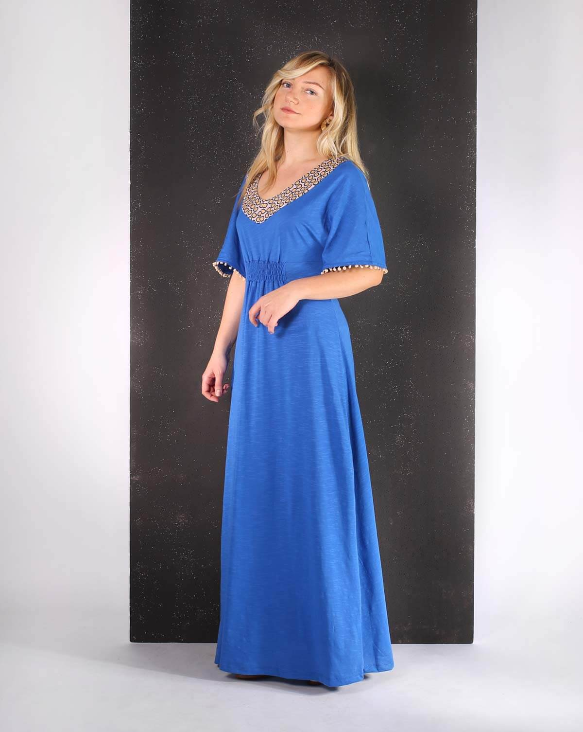 royal blue long dress vestido comprido longo 3