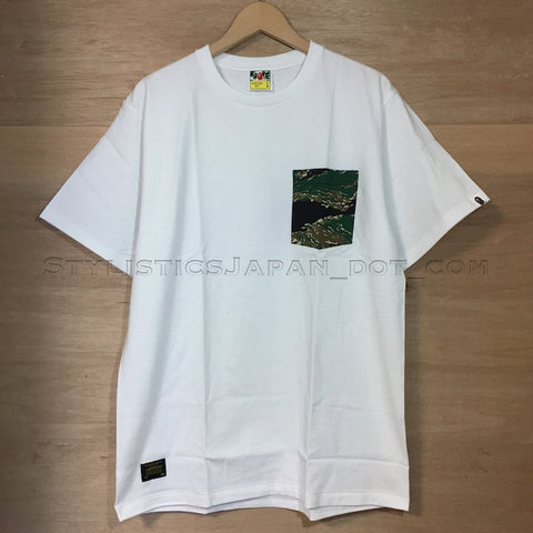 [L] DS! A Bathing Ape Ursus Bape Tiger Camo Pocket Tee White