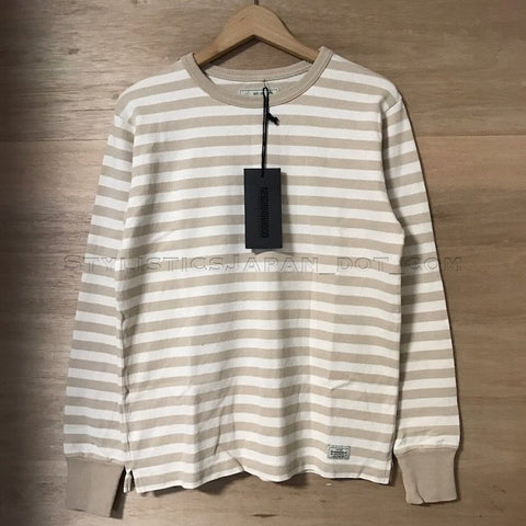 [S] Neighborhood Skinny Border Crew L/S Shirt Beige