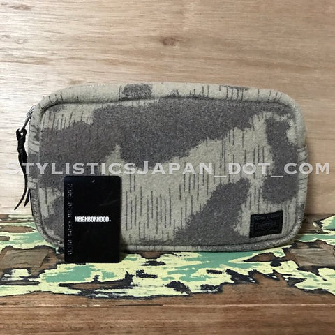 Neighborhood x Porter Raindrop Camo Wool Pouch Beige