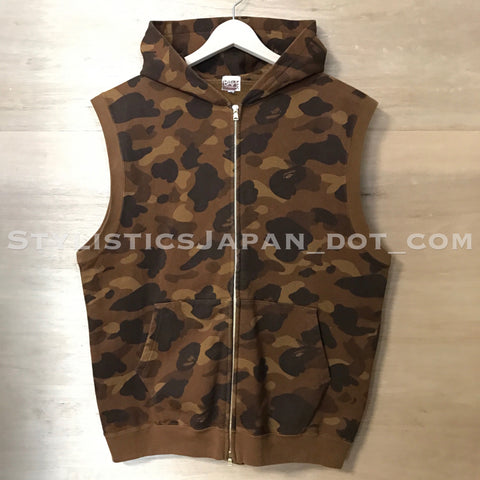 [M] A Bathing Ape Bape Camo Sleeveless Hoodie Brown