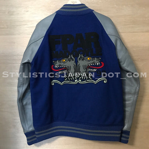 (Offers OK) FPAR (WTaps) Vintage Mad Goyle Wool/Leather Stadium Jacket Blue/Grey L