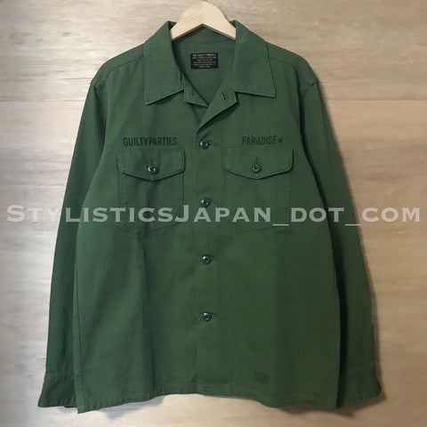 [XL] Wacko Maria Drunkards Dream Herringbone BUDS Shirt Olive