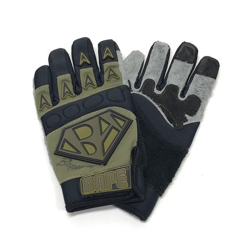 A Bathing Ape Bape Mad Face Factory BMX Gloves Olive