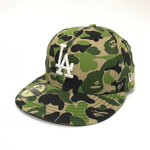[7 1/4] A Bathing Ape Bape x New Era LA ABC Camo Cap Green
