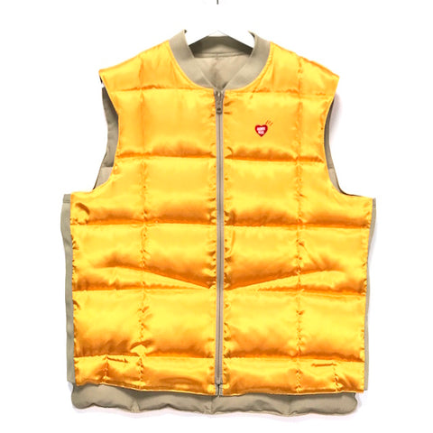 [XL] Human Made Cotton Satin Reversible Down Vest Beige