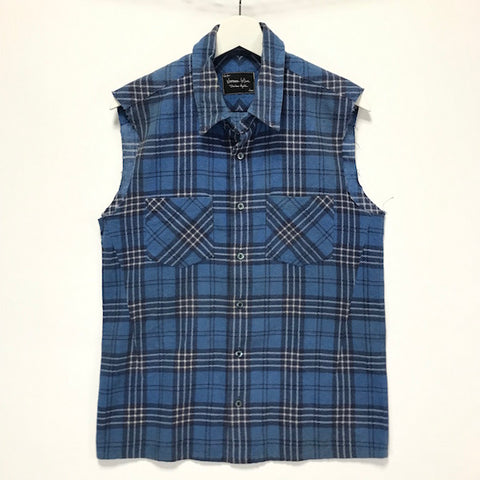 [M] Number Nine Sleeveless Flannel Shirt Blue