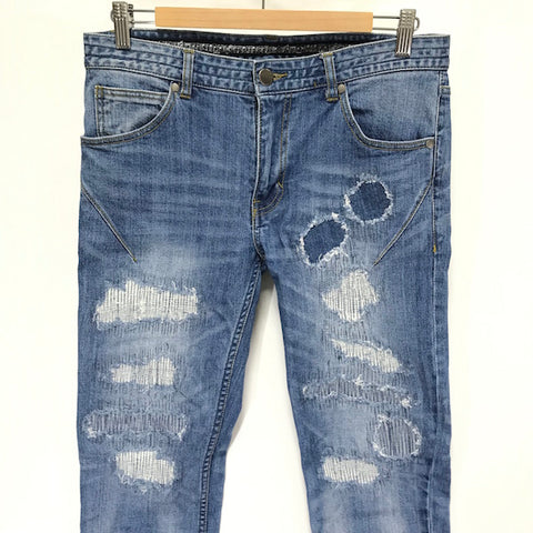 [32] Number Nine x Nano Universe Cropped Damaged Denim Jeans Indigo