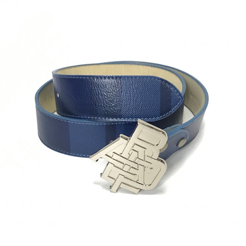 [M] A Bathing Ape Bape Nested Logo Plaid Leather Belt Blue