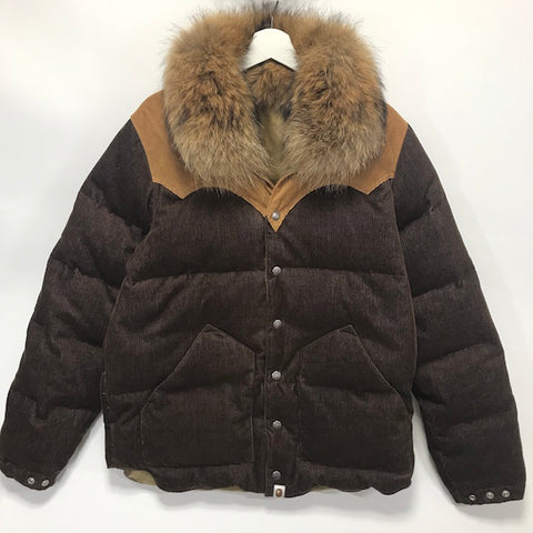 [L] A Bathing Ape Bape Fur Collar Corduroy Down Jacket