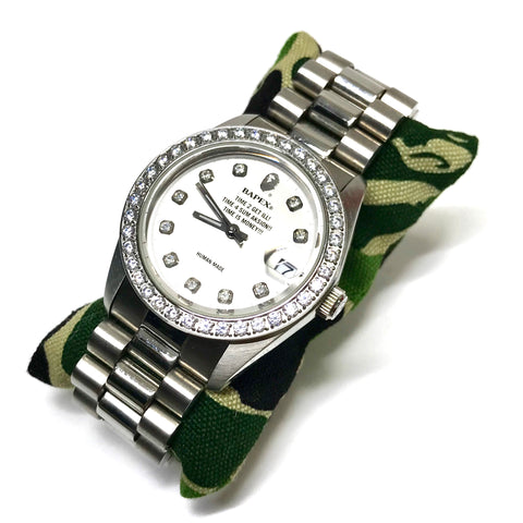 A Bathing Ape Bape Swarovski Crystal Automatic Bapex 'Datejust' Watch Silver