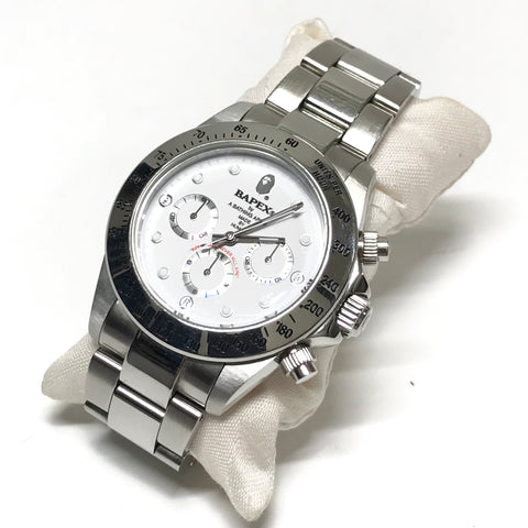 A Bathing Ape Bape Type 3 'Daytona' Bapex Watch Silver/White