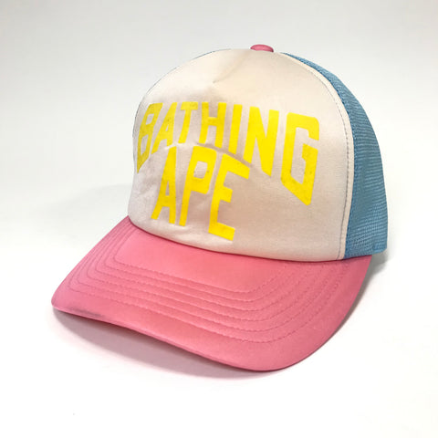 A Bathing Ape Bape Bape Cotton Candy NYC Logo Mesh Trucker Cap