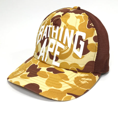 A Bathing Ape Bape Orange ABC Camo NYC Logo Mesh Trucker Cap