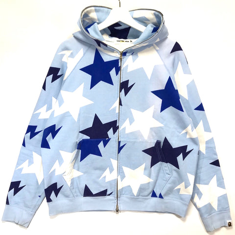 [M/L] A Bathing Ape Bape Sta Nagoya Limited Full Zip Hoodie Light Blue