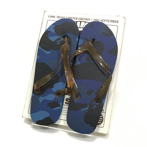 [8] DS! A Bathing Ape Bape Vintage Color Camo Beach Sandals Navy