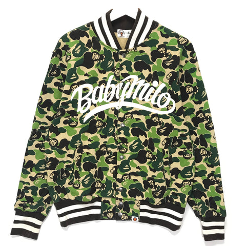 [S] A Bathing Ape Bape Baby Milo Camo Sweat Varsity Stadium Jacket