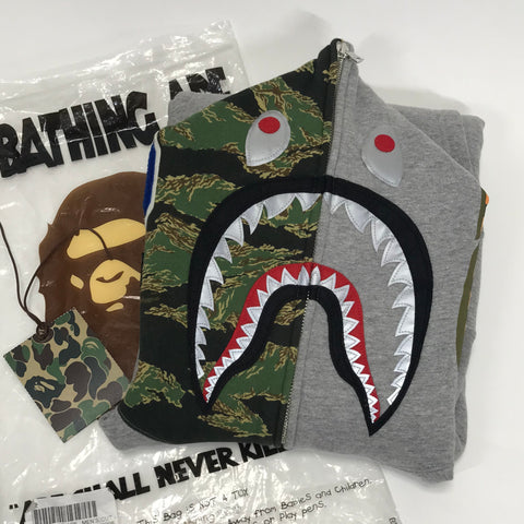 [M] A Bathing Ape Bape Zozo Limited Tiger Camo Shark Full Zip Hoodie