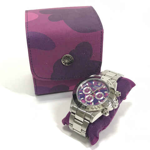 A Bathing Ape Bape Type 3 Daytona Automatic Bapex Watch Silver/Purple