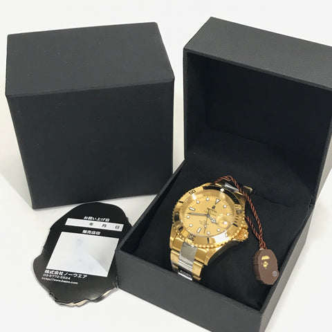 DS! A Bathing Ape Bape Type 1 Sarumariner Automatic Bapex Watch Gold/Silver