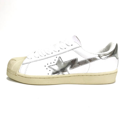 [9] DS! A Bathing Ape Bape Sta Shell Toe White/Silver
