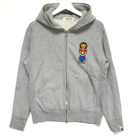 [S] A Bathing Ape Bape x Mario Full Zip Hoodie Grey