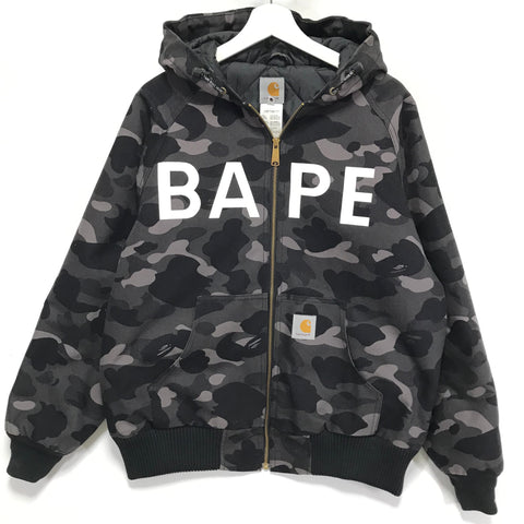 [M] A Bathing Ape Bape x Carhartt Camo Hooded Jacket Black